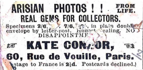 Annonce publicitaire parue dans la presse pour des photographies