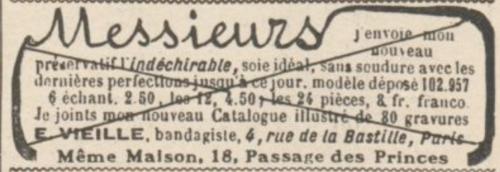 Publicité pour l'Indéchirable, préservatif sans soudure vendu par E. Vieille (Le Rire, 10/09/1910).
