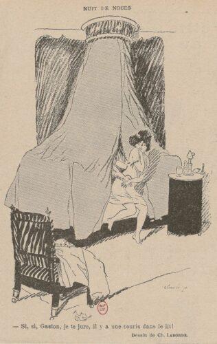 """Dessin de presse représentant une jeune mariée affolée sortant du lit. La légende indique """"Si, si, Gaston, je te jure, il y a une souris dans le lit !"""""""